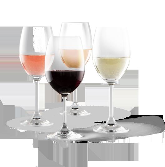 Verres de vins rosé, rouge, blanc et ambré